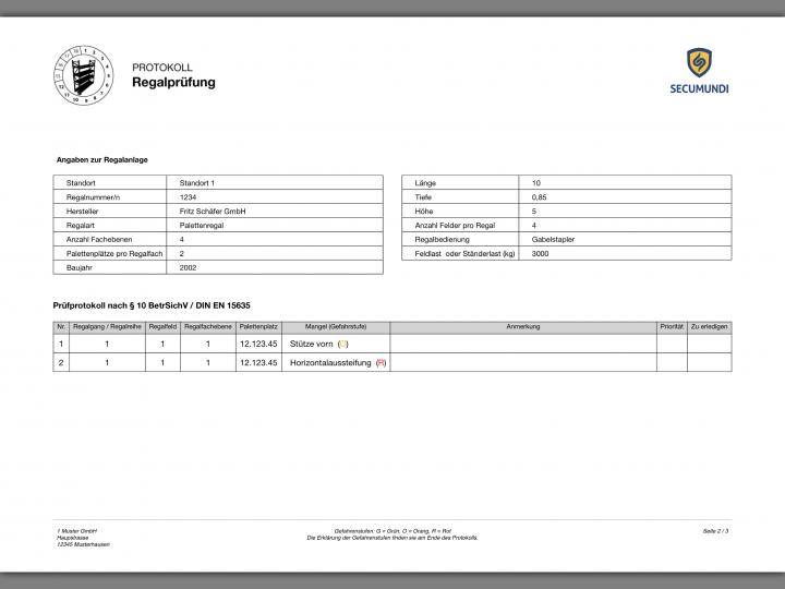 Prüfbericht der Regalprüfung als PDF Datei. Sofort nach dem Erstellen versandfertig per Mail