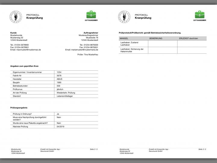 Erstellung von Prüfberichten der Kranprüfer App