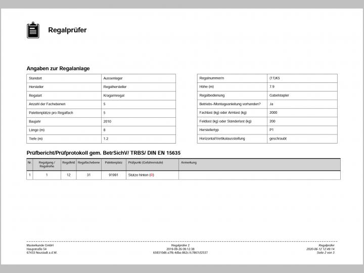 PDF Prüfbericht Auswertung
