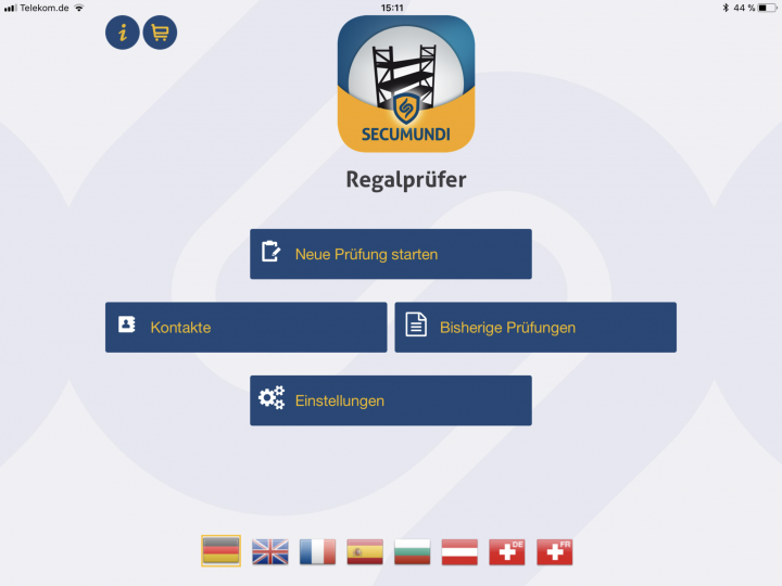 Regalprüfung in 5 Sprachen zur Prüfung von Regalanlagen verschiedener Herstellen gem. DIN EN 15635