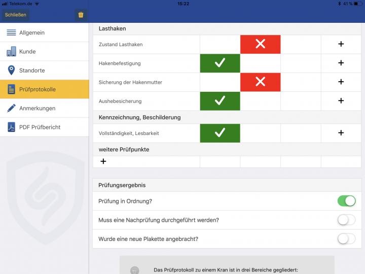 Prüfliste als Checkliste zur UVV Prüfung von Kranen, die mit eigenen Prüfpunkten angepasst werden kann