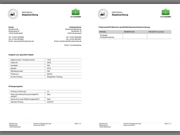 Prüfbericht der Staplerprüfung als PDF direkt nach den UVV Prüfung an den Kunden versenden