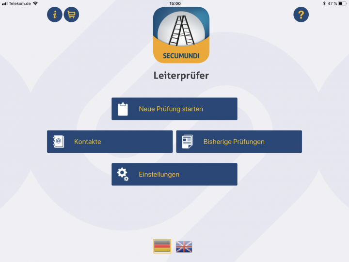 Leiter App zur Prüfung von Leitern verschiedener Leiterbauart