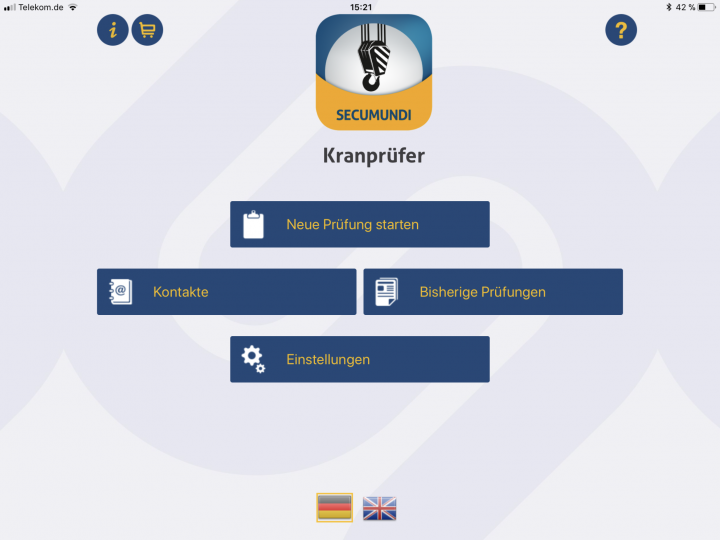 Kranprüfer App zur UVV Prüfung von Krananlagen mit vorgegebenen Checklisten
