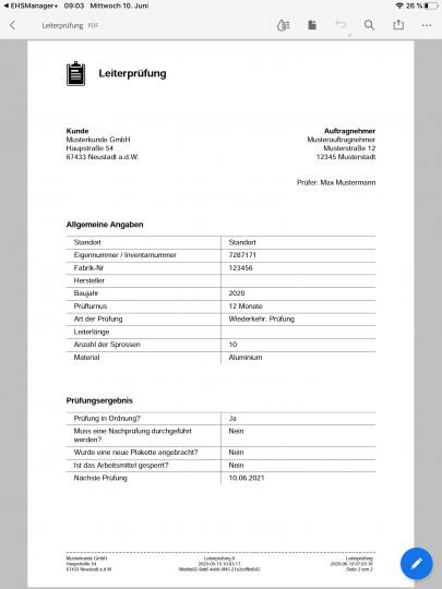 Prüfbericht Leiterprüfung